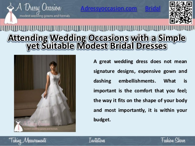 Adressyoccasion.com       BridalAttending Wedding Occasions with a Simple    yet Suitable Modest Bridal Dresses           ...