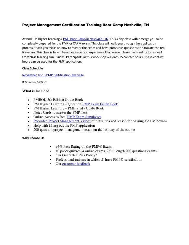 Pm Higher Learning 4 Day Pmp Boot Camp Nashville