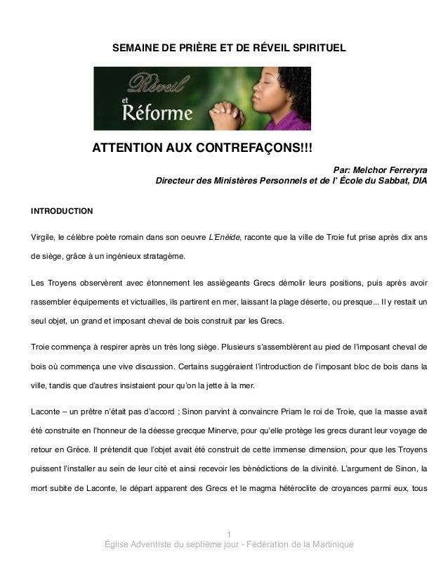 SEMAINE DE PRIÈRE ET DE RÉVEIL SPIRITUEL!  !  ATTENTION AUX CONTREFAÇONS!!!!  !  Par: Melchor Ferreryra! Directeur des Min...