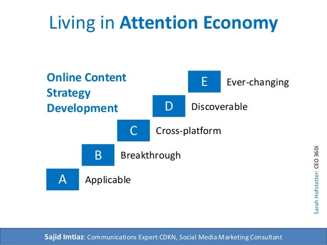 Living in Attention Economy  A  B  C  D  E  Breakthrough  Applicable  Discoverable  Cross-platform  Ever-changing  Sajid I...