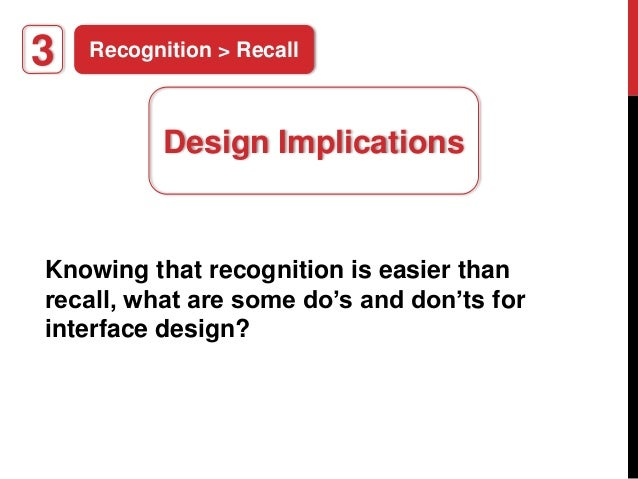 recognition recall The relationship between recognition and recall has been a focus of much theory and experimentation in the study of human memory an important phenomenon bearing on the nature of this relationship is recognition failure of recallable words.