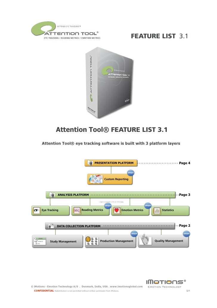 FEATURE LIST 3.1                             Attention Tool® FEATURE LIST 3.1          Attention Tool® eye tracking softwa...
