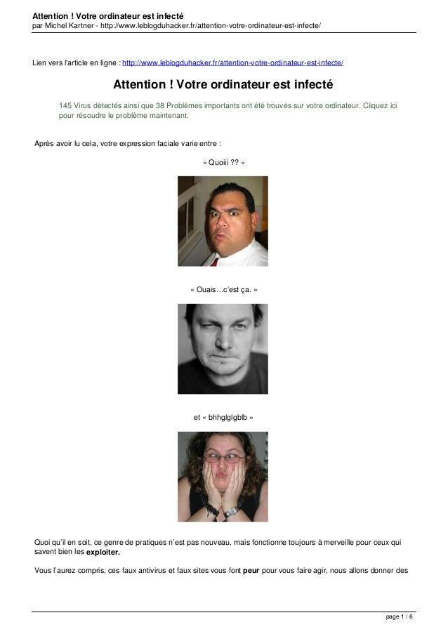 Attention ! Votre ordinateur est infecté par Michel Kartner - http://www.leblogduhacker.fr/attention-votre-ordinateur-est-...