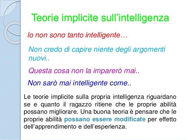 Teorie implicite sull'intelligenza Io non sono tanto intelligente… Non credo di capire niente degli argomenti nuovi.. Ques...