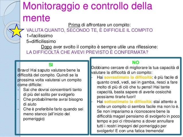 Monitoraggio e controllo della mente Prima di affrontare un compito: VALUTA QUANTO, SECONDO TE, È DIFFICILE IL COMPITO 1=f...