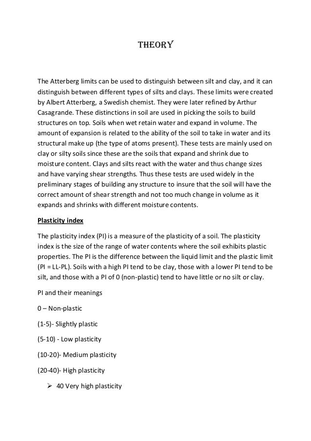 atterberg limits lab report conclusion