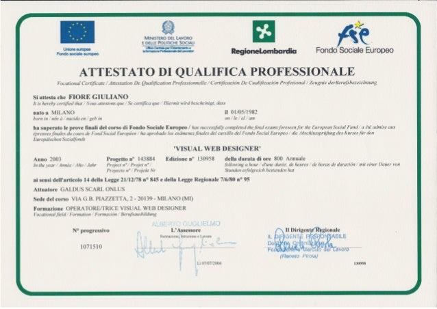 Attestato di qualifica professionale visual web designer for Web designer milano