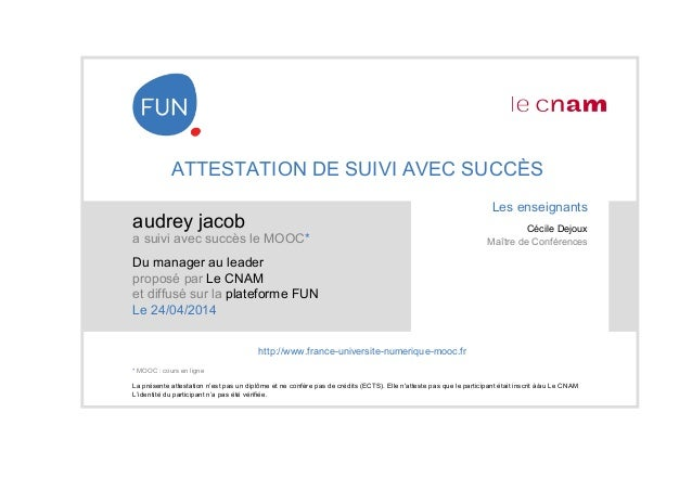 attestation reussite mooc du manager au leader