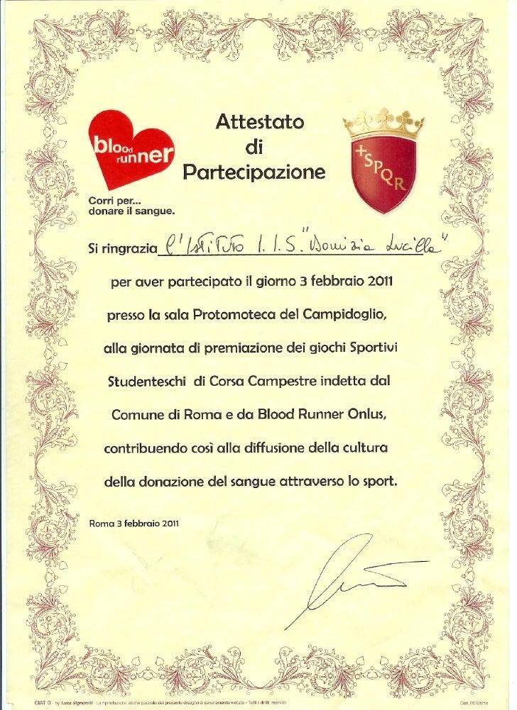 Attestato blood runner