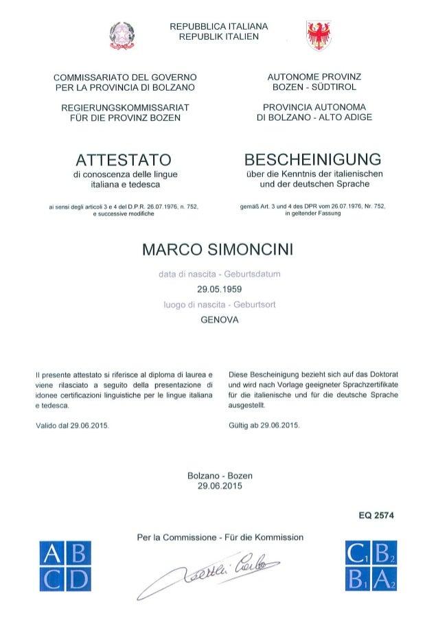 Attestato Di Conoscenza Delle Lingue Italiana E Tedesca A