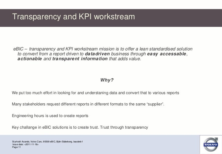 Transparency and KPI workstream Styrkraft Acando, Volvo Cars, 95500 eBIC, Björn Söderberg, bsoderb1 Page  Issue date: <201...