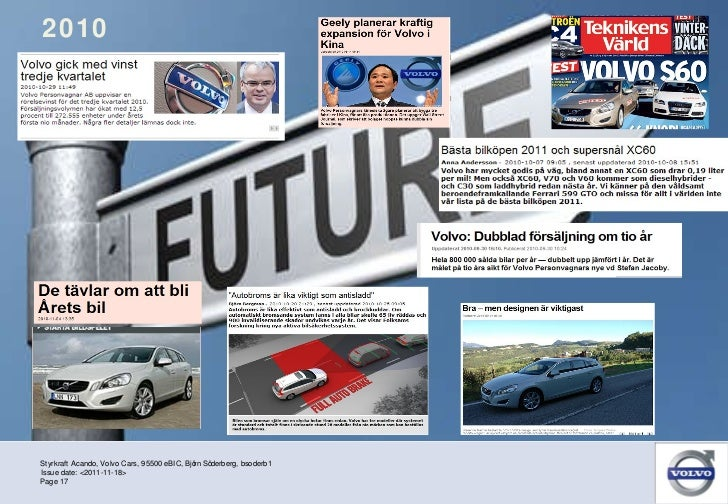 2010 Styrkraft Acando, Volvo Cars, 95500 eBIC, Björn Söderberg, bsoderb1 Page  Issue date: <2011-11-18>