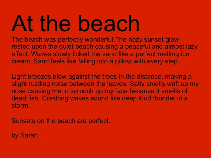 Descriptive essay beach
