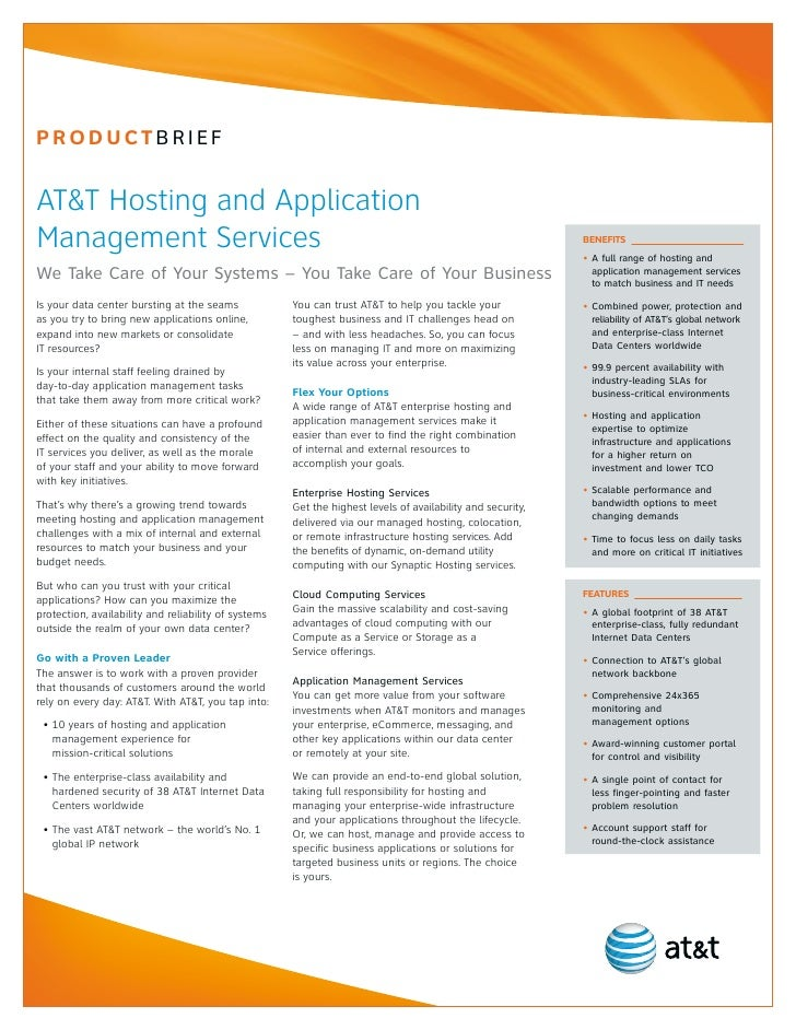 PrOductBrIEfAT&T Hosting and ApplicationManagement Services                                                               ...