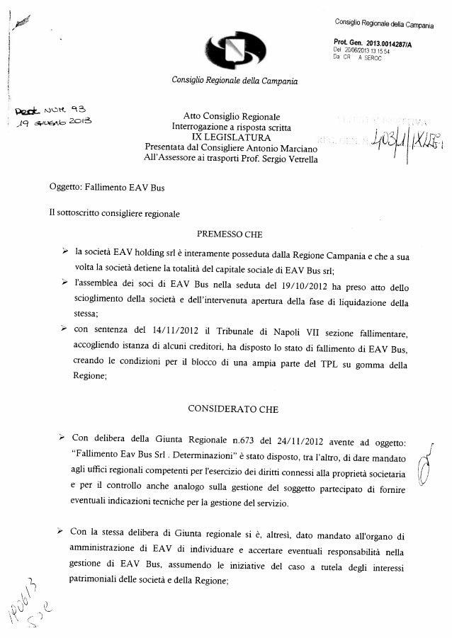 Consiglio Regionale della Campania Prot. Gen. 2O13.00142871p, Del 2CfO612O13 131554 Da C A SERCC Consiglio Regionale della...
