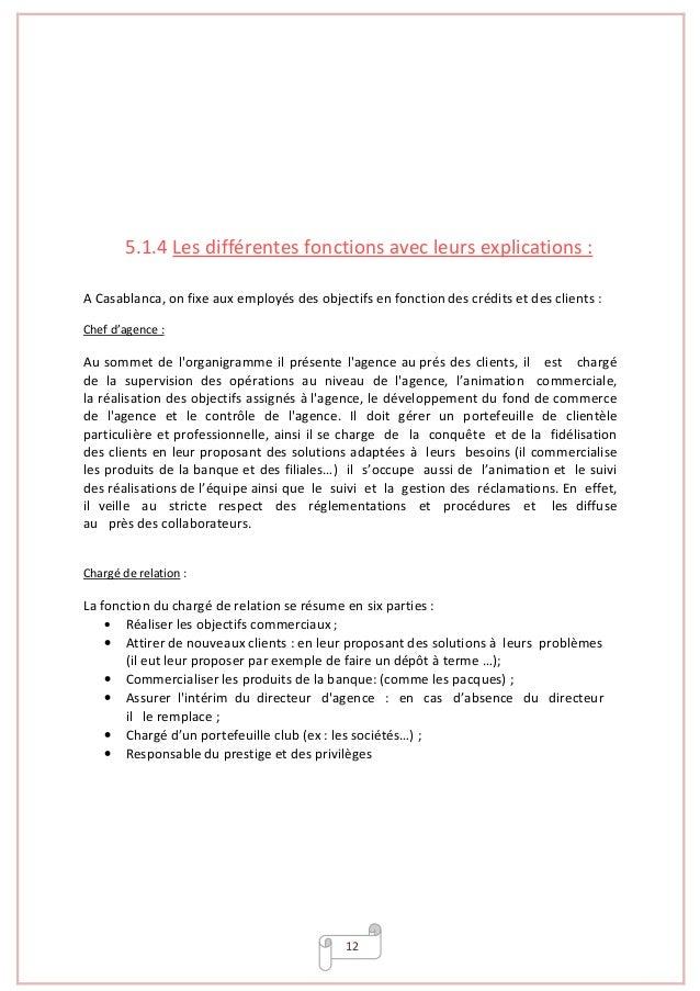 12 5.1.4 Les différentes fonctions avec leurs explications : A Casablanca, on fixe aux employés des objectifs en fonction ...