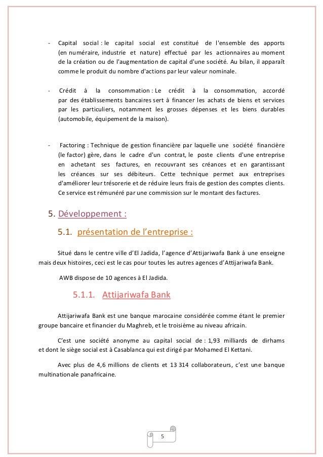Rapport de stage attijariwafa bank for Chambre de compensation bancaire
