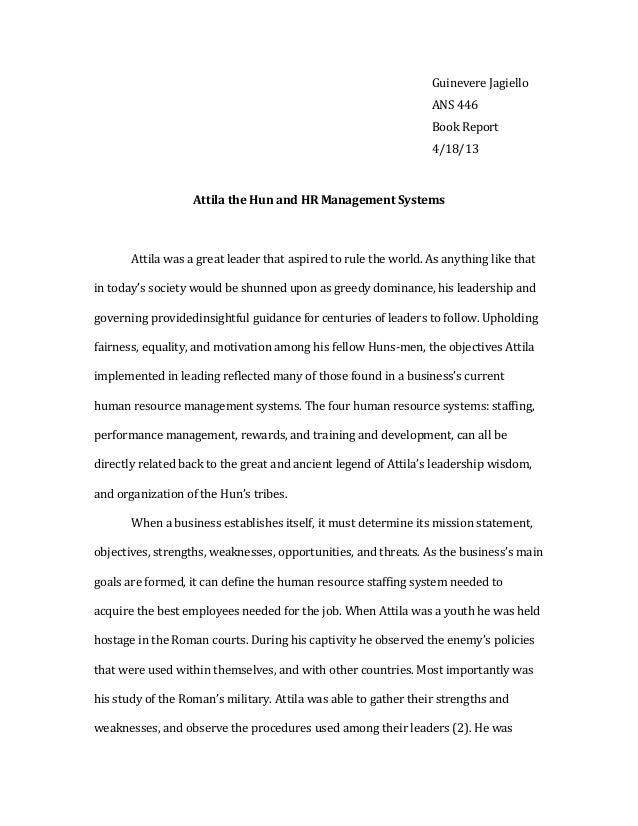 Attila The Hun Essay Relation To Modern Day Human Resources Guinevere Jagiello Ans  Book Report  Attila The Hun And Hr  Essay Papers Online also Civil Engineering Cover Letter Help  Topics For Essays In English