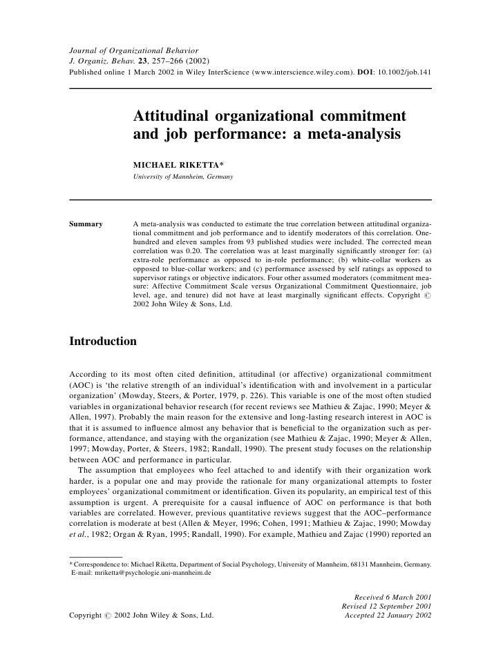 Journal of Organizational Behavior J. Organiz. Behav. 23, 257–266 (2002) Published online 1 March 2002 in Wiley InterScien...
