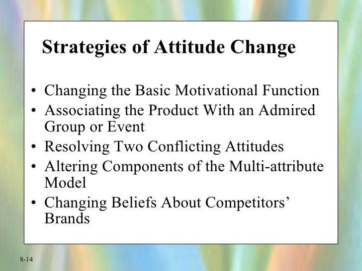 Strategies of Attitude Change <ul><li>Changing the Basic Motivational Function </li></ul><ul><li>Associating the Product W...