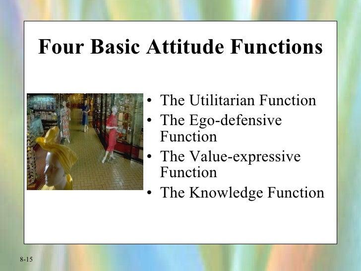 Four Basic Attitude Functions <ul><li>The Utilitarian Function </li></ul><ul><li>The Ego-defensive Function </li></ul><ul>...