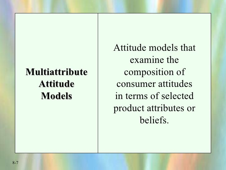 Multiattribute Attitude Models Attitude models that examine the composition of consumer attitudes in terms of selected pro...