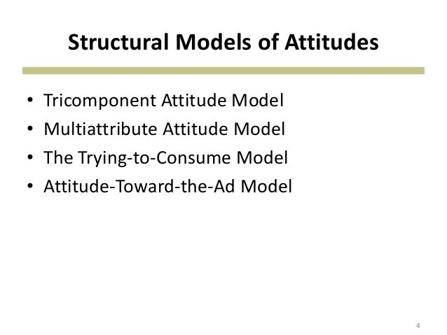 Structural Models of Attitudes • Tricomponent Attitude Model • Multiattribute Attitude Model • The Trying-to-Consume Model...