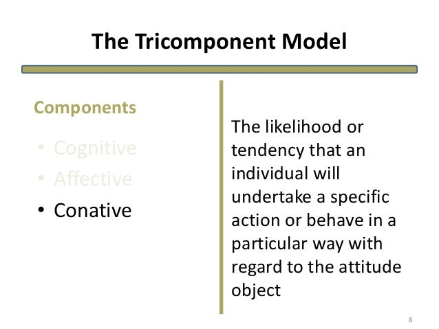 The Tricomponent Model • Cognitive • Affective • Conative The likelihood or tendency that an individual will undertake a s...