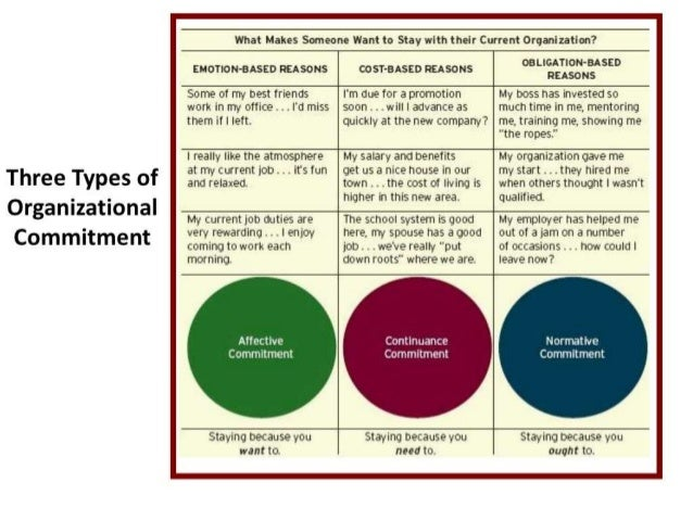 organisational commitment types job related outcomes are John meyer and natalie allen developed their three component model of commitment and published it in the 1991 human resource management review the model explains that commitment to an organization is a psychological state, and that it has three distinct components that affect how employees feel about the organization that they work for.