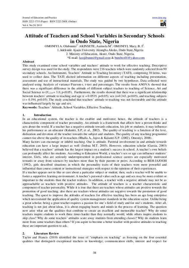 Journal of Education and Practice ISSN 2222-1735 (Paper) ISSN 2222-288X (Online) Vol.4, No.28, 2013  www.iiste.org  Attitu...