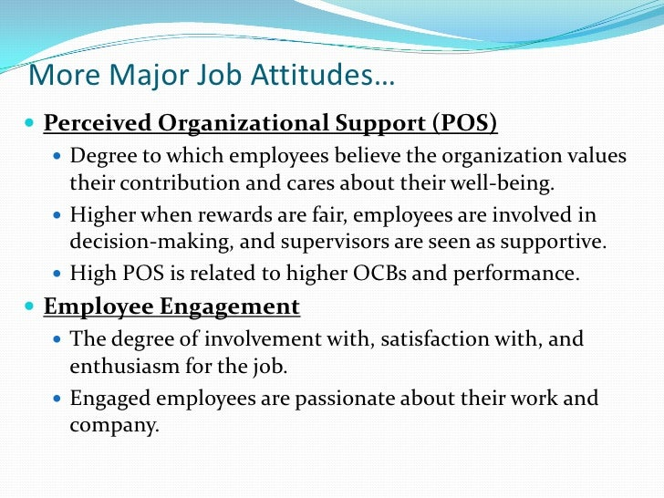 job attitudes and job satisfaction Koenig, nick, employee engagement, job attitudes, and work behavior: a meta -analytic  with each of the three traditional job attitudes (ie, job satisfaction,.