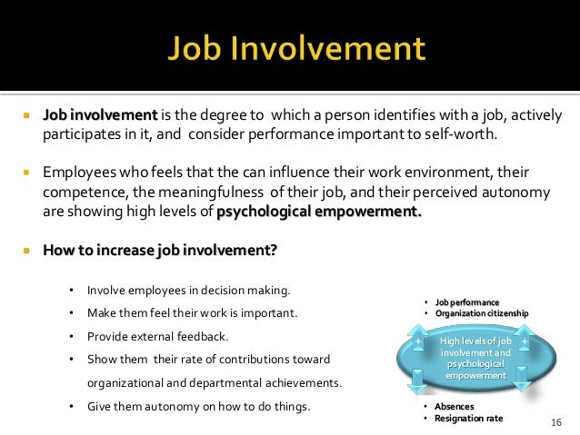 job involvement The purpose of the present research was to define job involvement, develop a  scale for measuring it, gather evidence on the reliability and validity of the scale, .