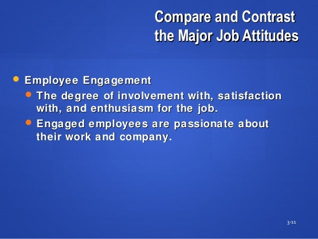 Compare and ContrastCompare and Contrast the Major Job Attitudesthe Major Job Attitudes 3-11  Employee EngagementEmployee...