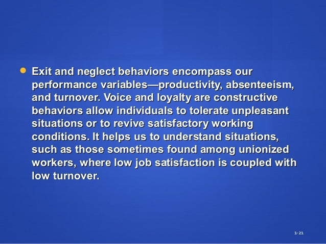  Exit and neglect behaviors encompass ourExit and neglect behaviors encompass our performance variables—productivity, abs...