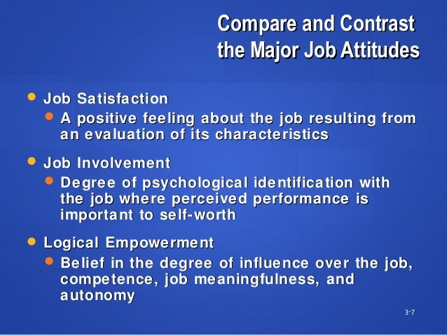 Compare and ContrastCompare and Contrast the Major Job Attitudesthe Major Job Attitudes 3-7  Job SatisfactionJob Satisfac...