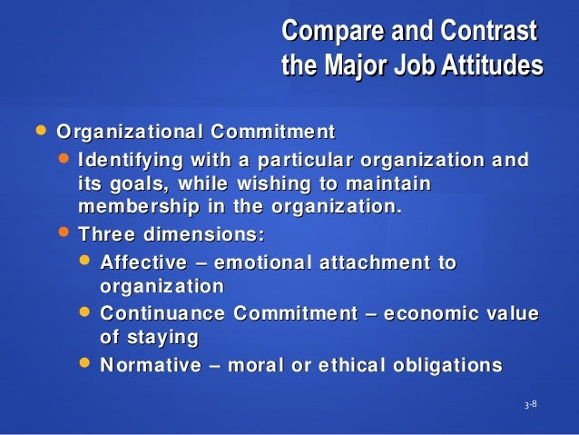 Compare and ContrastCompare and Contrast the Major Job Attitudesthe Major Job Attitudes 3-8  Organizational CommitmentOrg...