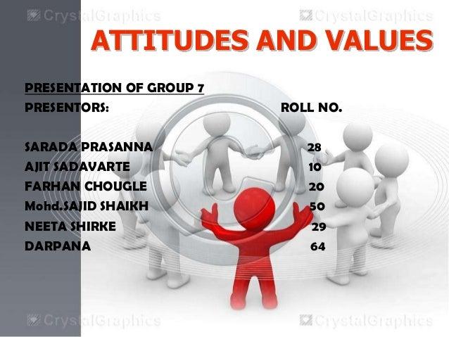 ATTITUDES AND VALUESPRESENTATION OF GROUP 7PRESENTORS: ROLL NO.SARADA PRASANNA 28AJIT SADAVARTE 10FARHAN CHOUGLE 20Mohd.SA...