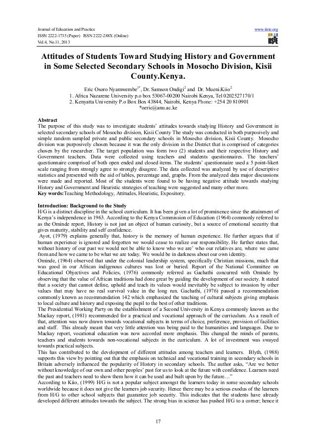Journal of Education and Practice www.iiste.org ISSN 2222-1735 (Paper) ISSN 2222-288X (Online) Vol.4, No.11, 2013 17 Attit...