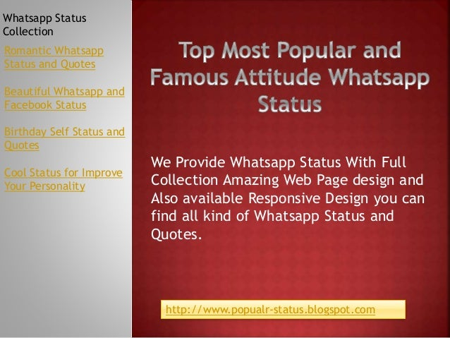 Top Most Popular Attitude Whatsapp Status With Full Collection