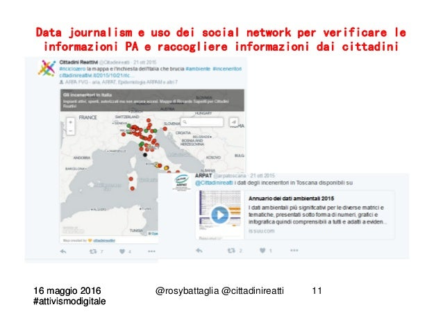16 maggio 2016 #attivismodigitale 16 maggio 2016 #attivismodigitale @rosybattaglia @cittadinireatti 11 Data journalism e u...