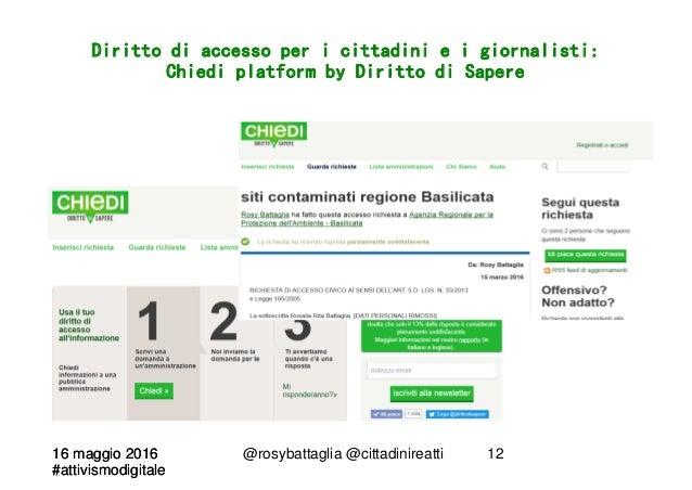 16 maggio 2016 #attivismodigitale 16 maggio 2016 #attivismodigitale @rosybattaglia @cittadinireatti 12 Diritto di accesso ...