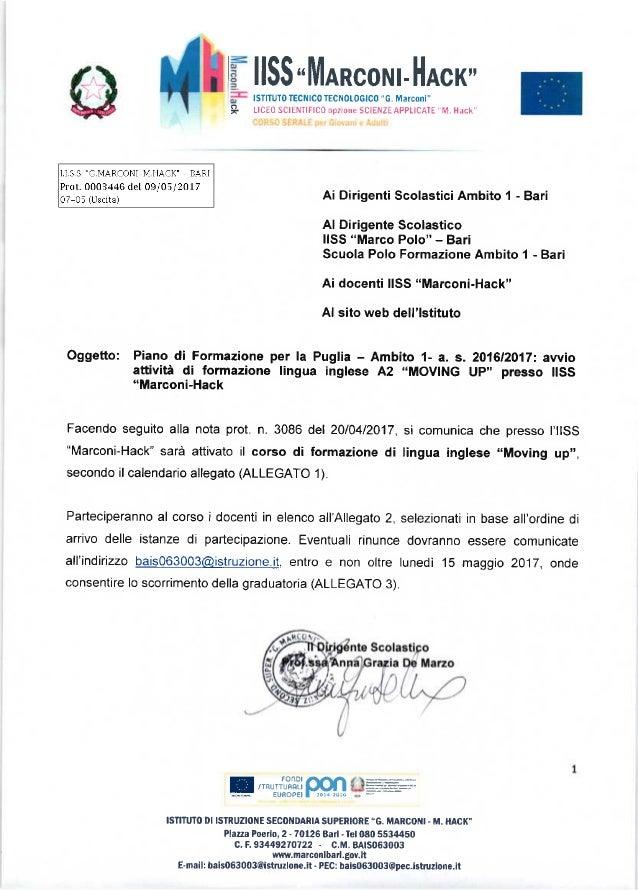 """PIANO FORMAZIONE PER LA PUGLIA - AMBITO 1 - A.S. 2016/17: AVVIO ATTIVITA' DI FORMAZIONE LINGUA INGLESE A2 """"MOVING UP"""" PRES..."""