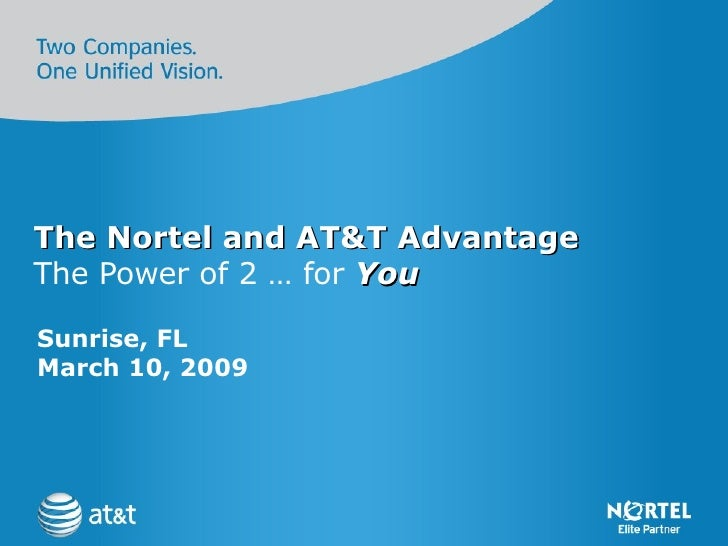 The Nortel and AT&T Advantage The Power of 2 … for  You Sunrise, FL  March 10, 2009