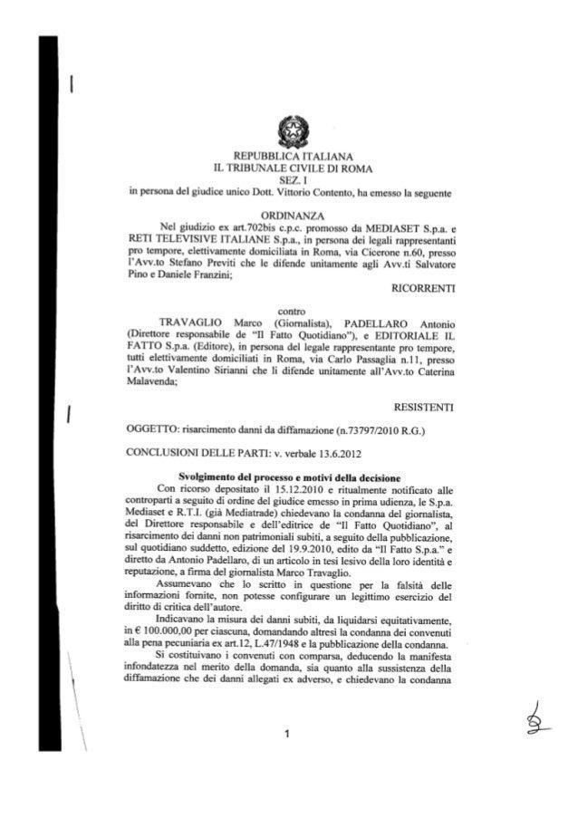 L'ordinanza che condanna Mediaset a risarcire il fatto