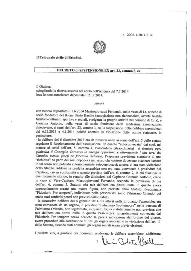 Rione San Basilio, la sentenza