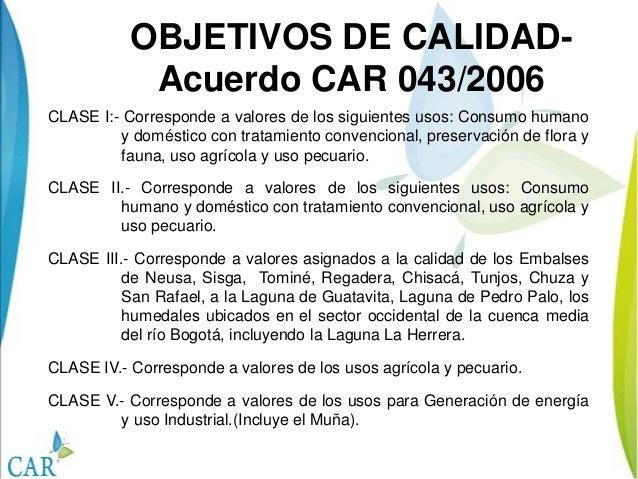 IMAGENOPCIONALOBJETIVOS DE CALIDAD-Acuerdo CAR 043/2006CLASE I:- Corresponde a valores de los siguientes usos: Consumo hum...