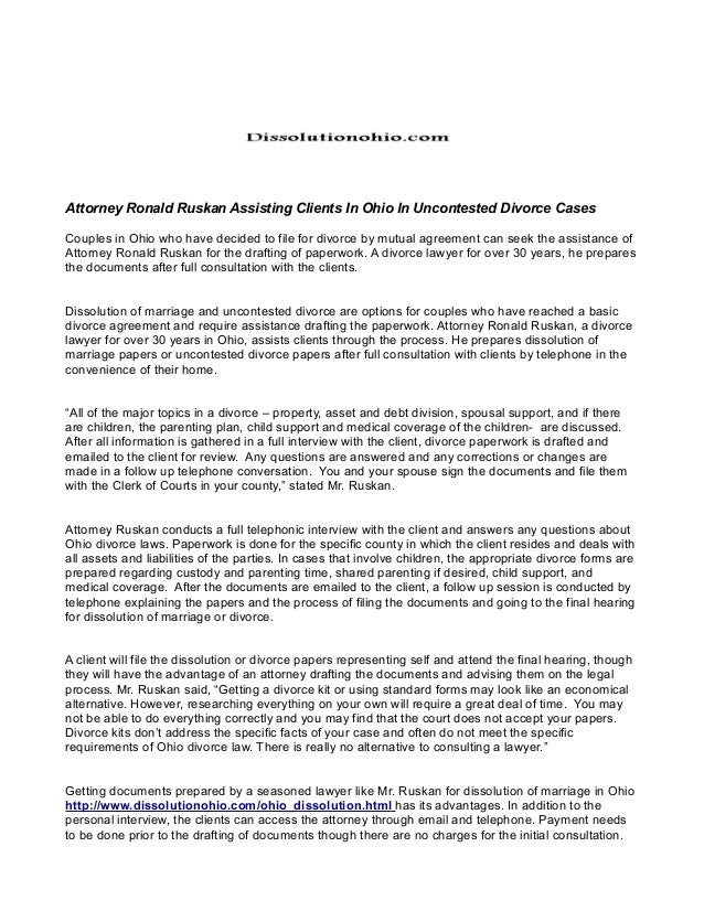 Attorney ronald ruskan assisting clients in ohio in uncontested divor…