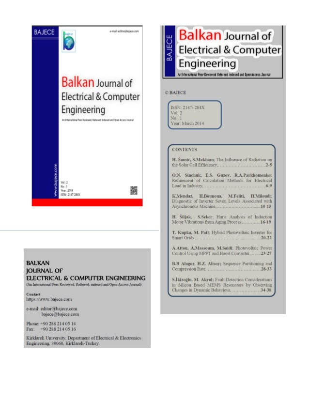 BALKAN JOURNAL OF ELECTRICAL & COMPUTER ENGINEERING, 2014, Vol.1, No.2 Copyright © BAJECE ISSN: 2147-284X March 2014 Vol:1...