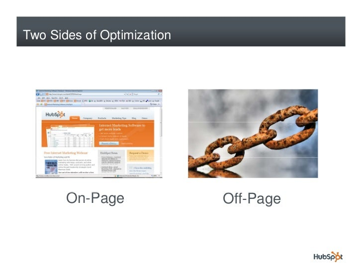 Two Sides of Optimization            On-Page        O P                  Off-Page                             Off