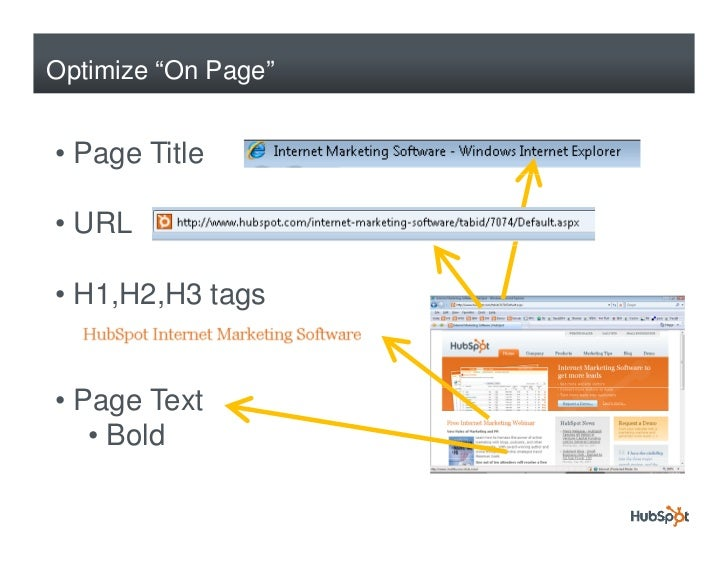 """Optimize """"On Page""""   • Page Title  • URL  • H1,H2,H3 tags   • Page Text    • Bold"""